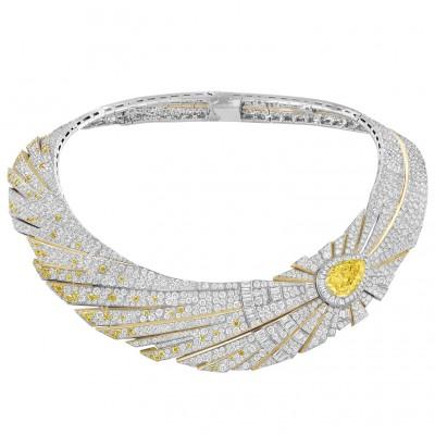 #VAN CLEEF and ARPLES #necklace #whiteGold #YellowDiamonds #Diamonds. #2021
