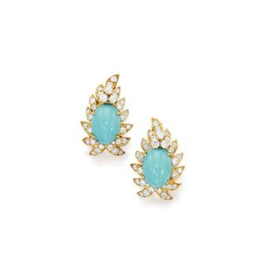 #VAN CLEEF et ARPELS #Earclips #diamonds #turquoises