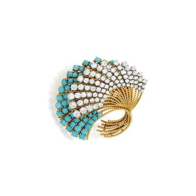 #VAN CLEEF et ARPELS #brooch #diamonds #turquoises