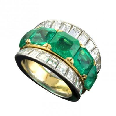 VAN ClEEF & ARPELS-émeraude-diamant-platine-bague
