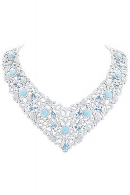 VAN ClEEF & ARPELS-Aigue marine-diamants-cabochons de turquoises