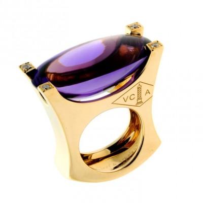 VAN ClEEF & ARPELS-Améthyste-diamant jaune-bague-or
