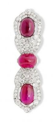 VAN ClEEF & ARPELS-An art deco-rubis-tourmaline-diamants-broche