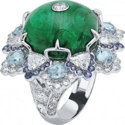 VAN ClEEF & ARPELS-Bague Amour-or blanc-cabochon émeraude-diamants-Paraiba tourmalines-spinelles