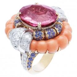 VAN ClEEF & ARPELS-Bague Cocktai d'été-diamants-corail-saphirs-spinel rose 21,19ct