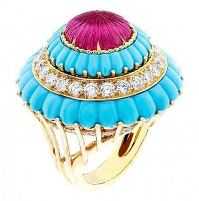 VAN ClEEF & ARPELS-Bague Lady's Cocktail Ring-or jaune-diamants-rubelleite-turquoise.