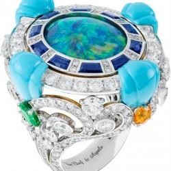 VAN ClEEF & ARPELS-Bague-collection Au fil de la chance-or blanc-or rose-diamants-grenats-tsavorite-daphirs-saphirs jaunes-opale noire