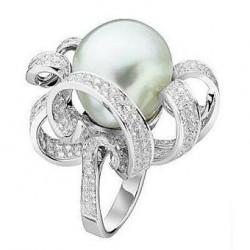 VAN ClEEF & ARPELS-Bague-perle-diamants