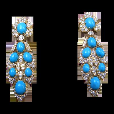 VAN ClEEF & ARPELS-Boucles d'oreilles-or-turquoise-diamants-1966