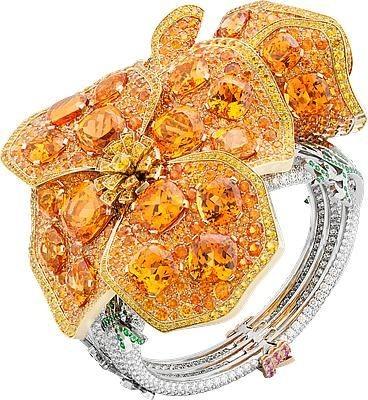VAN ClEEF & ARPELS-Bracelet Pavot de Californie-or jaune-diamants-saphirs-grenats mandarin
