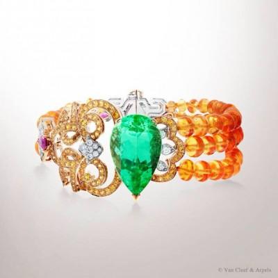 VAN ClEEF & ARPELS-Bracelet Solor-Haute Joaillerie-Collection Ballet Précieux La Bayadère-grenat Mandarin-toumaline verte