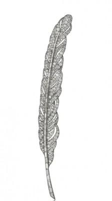 VAN ClEEF & ARPELS-Broche Plume-platine-diamants