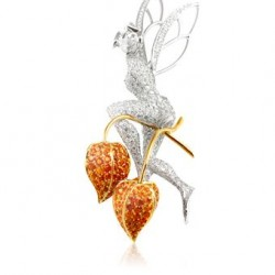 VAN ClEEF & ARPELS-Clip Amour en cage-Midsummer Night's Dream collection-or blanc-diamants-or jaune-grenats mandarins
