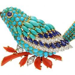 VAN ClEEF & ARPELS-Clip oiseau-platine-or jaune-saphirs-turquoise-corail-diamants