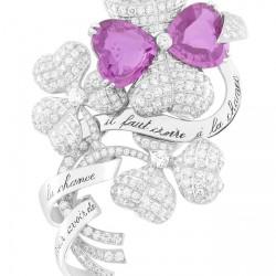 VAN ClEEF & ARPELS-Collection Palais de la chance-clip Trèfles-or blanc-saphirs roses-diamants