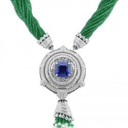 VAN ClEEF & ARPELS-Collection Peau d'Âne La Forêt enchantée-collier convertible-diamants-saphir-émeraude