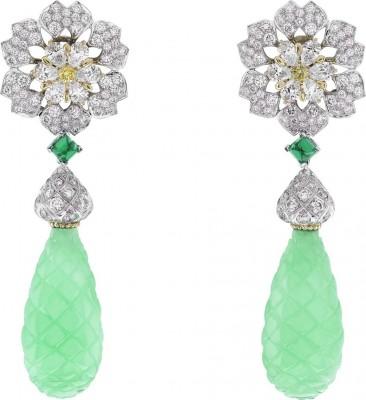 VAN ClEEF & ARPELS-Collection Peau d'Âne-La Forêt enchantéeor blanc-boucles d'oreilles-diamants-émeraudes-chrysoprase