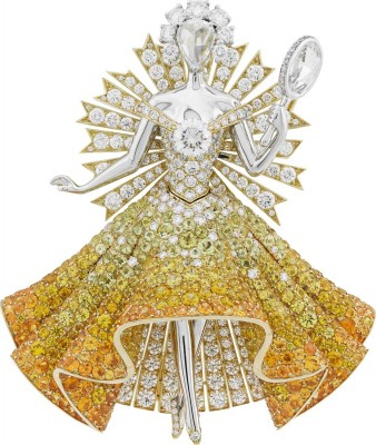 VAN ClEEF & ARPELS-Collection Peau d'Âne-diamantsBroche Sun Dress-diamants-grenats spessartite-tourmalines-saphirs