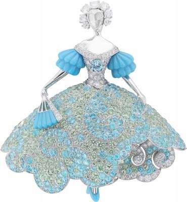 VAN ClEEF & ARPELS-Collection Peau d'Âne-enfance-clip Couleur du Temps-or blanc-diamants-turquoises-tourmalines