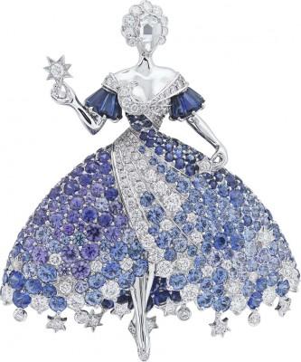 VAN ClEEF & ARPELS-Collection Peau d'Âne-or blanc-Broche Moon Dress-diamants-spinelles bleus-tanzanites-saphirs bleus-saphirs violets