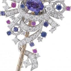 VAN ClEEF & ARPELS-Collection Peau d'Ane la Forêt enchantée-diamants-saphirs bleus-saphirs violets-onyx