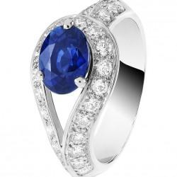 VAN ClEEF & ARPELS-Collection Pierres de Couleur-bague solitaire-platine-saphir-diamants