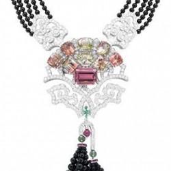 VAN ClEEF & ARPELS-Collier Arbre de Vie necklace-Palais de la chance collection.-or blanc-perles onyx-diamants-tourmalines