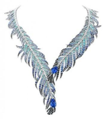 VAN ClEEF & ARPELS-Collier Plumes de Martin Pêcheur-diamants-saphirs-spinelles noirs-tourmalines-saphirs