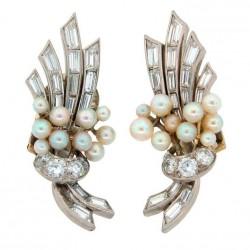 VAN ClEEF & ARPELS-Diamants-perles-platine-boucles d'oreilles