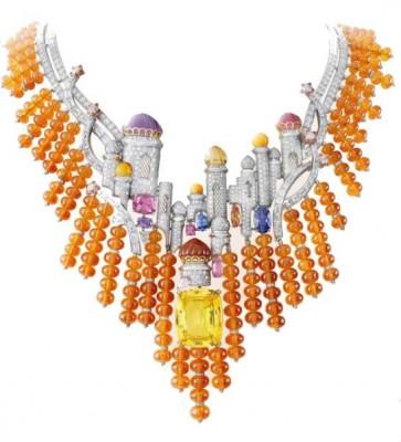 VAN ClEEF & ARPELS-Iollier Izmir-Bals de Légende-diamants-grenat mandarin-opale-améthyste-rubellites-citrines-spinelles roses-spinelles violets-topaz-saphir jaune