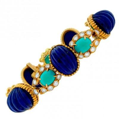 VAN ClEEF & ARPELS-Lapis Lazuli-Turquoise-diamant-or-Bracelet