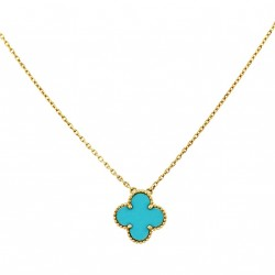 VAN ClEEF & ARPELS-Pendentif-Collection Alhambra-Turquoise-or jaune
