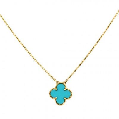 VAN ClEEF & ARPELS-Pendentif-Collection Alhambra-Turquoise-or jaune