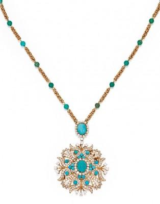 VAN ClEEF & ARPELS-Pendentif-broche-chaine-turquoises-diamants