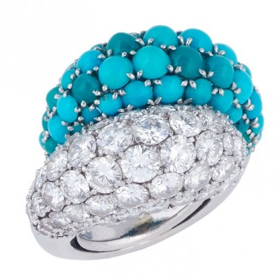 VAN ClEEF & ARPELS-Turquoises-diamants-bague boule