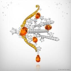 VAN ClEEF & ARPELS-Zodiac Set Sagittarius-clip collection Palais de la -or blanc-or jaune-diamants-saphirs jaunes-diamants-grenats mandarin
