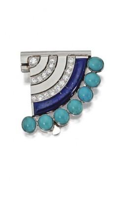 VAN ClEEF & ARPELS-art déco-turquoise-Lapis Lazuli-diamant-broche