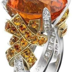 VAN ClEEF & ARPELS-bague Amour en cage-Midsummer Night's Dream collection-or blanc-diamants-or jaune-grenats mandarins