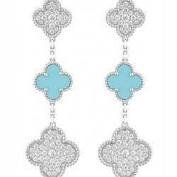 VAN ClEEF & ARPELS-boucles d'oreilles Alhambra-turquoises-diamants