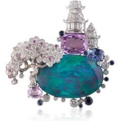 VAN ClEEF & ARPELS-clip Nuit d'Orient-diamants-saphirs violets