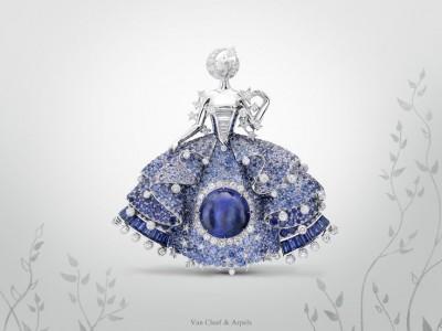 VAN ClEEF & ARPELS-collection Fée des Etoiles-collection Peau d'Âne-or blanc-diamants-saphirs-spinelles bleus-tanzanites