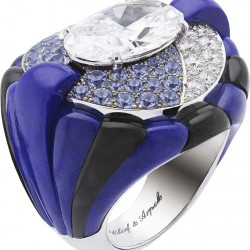 VAN ClEEF & ARPELS- collection Peau d'Âne-Star of the Night-or blanc-lapis lazuli-onyx-diamants-tanzanite-diamant oval
