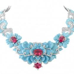 VAN ClEEF & ARPELS-collier kingfisher-turquoises-diamants-spinelles-inspiré du  Bal Oriental du Baron Alexis de Redé-1956