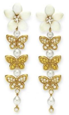 VAN ClEEF & ARPELS-corail-diamant-saphir jaune-perle-bouclezs d'oreilles