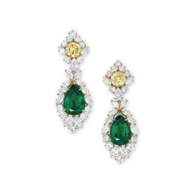 VAN ClEEF & ARPELS-diamants jaunes-diamants blancs-émeraudes-boucles d'oreilles