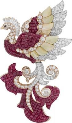 VAN ClEEF & ARPELS-diamants-spinelle noir-rubis