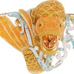 VAN ClEEF & ARPELS-montre haute joaiilerie-Carpe Koï-saphirs jaunes-grenats spessartite-diamants-Paraiba tourmaline