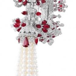 VAN ClEEF & ARPELS-or blanc-collier Zip-rubis-diamants-perles de culture