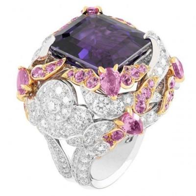 VAN ClEEF & ARPELS-or blanc-diamants-or rose-saphirs roses-saphir violet