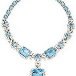 VAN ClEEF & ARPELS-platine-diamant-aigue marine-collier